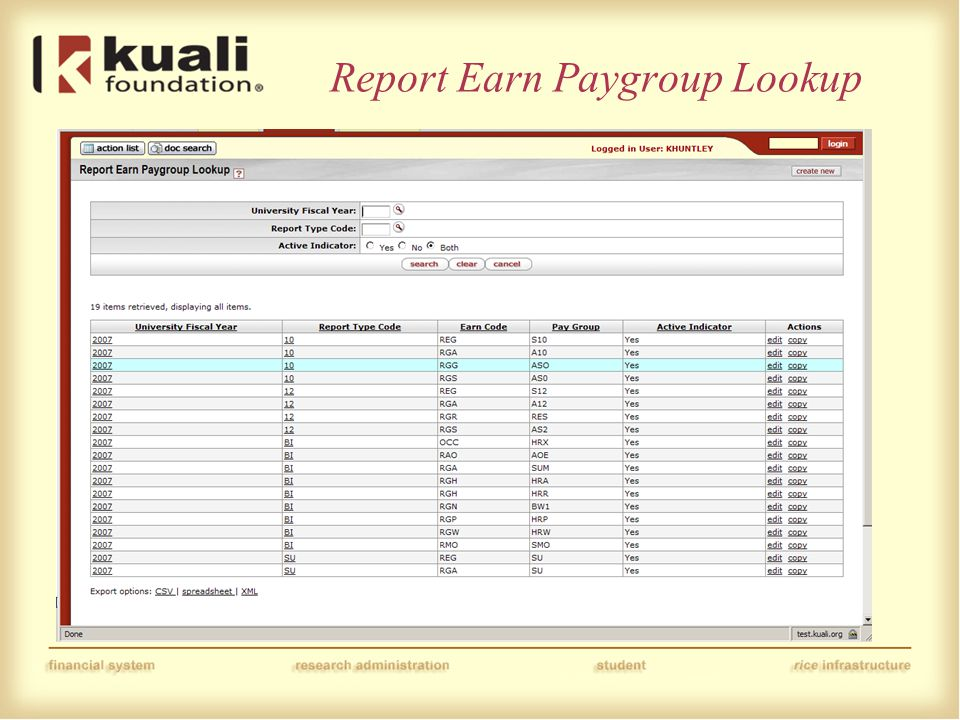 Report Earn Paygroup Lookup