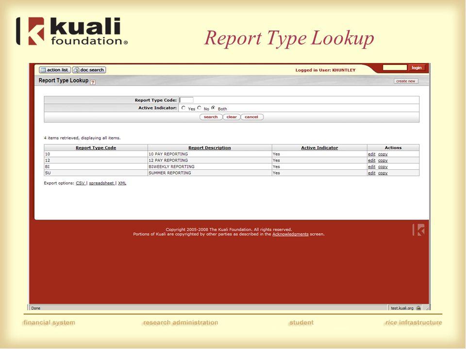Report Type Lookup