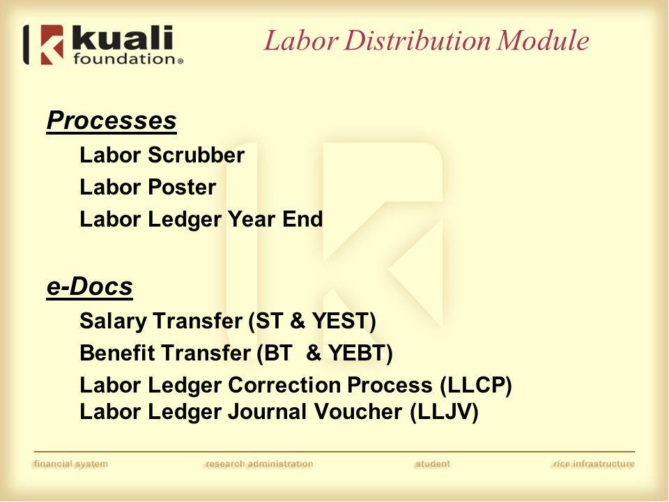Labor Distribution Module Processes Labor Scrubber Labor Poster Labor Ledger Year End e-Docs Salary Transfer (ST & YEST) Benefit Transfer (BT & YEBT)