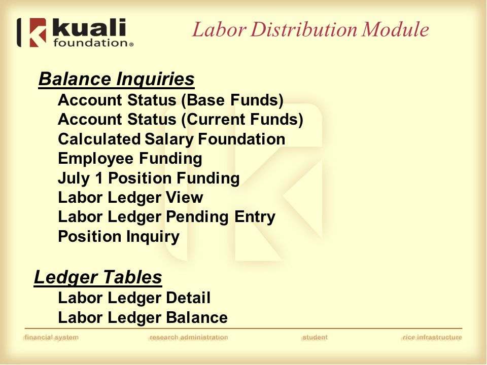 Labor Distribution Module Balance Inquiries Account Status (Base Funds) Account Status (Current Funds) Calculated Salary Foundation Employee Funding July 1 Position Funding Labor Ledger View Labor Ledger Pending Entry Position Inquiry Ledger Tables Labor Ledger Detail Labor Ledger Balance