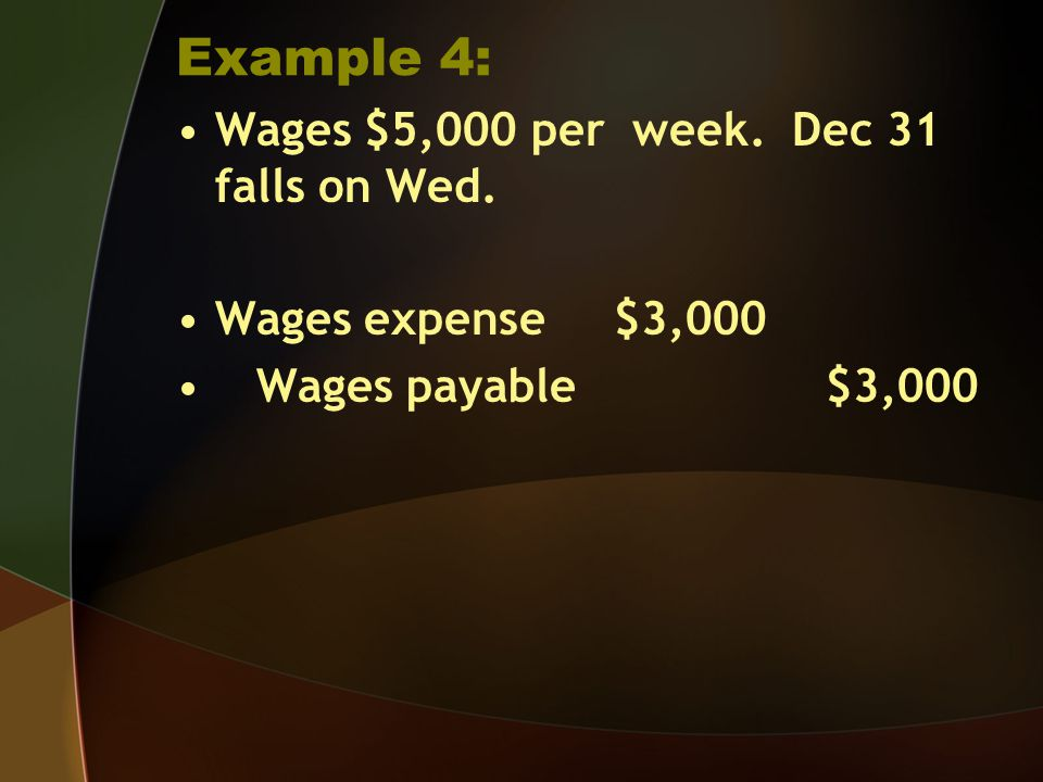 Example 4: Wages $5,000 per week. Dec 31 falls on Wed. Wages expense $3,000 Wages payable $3,000