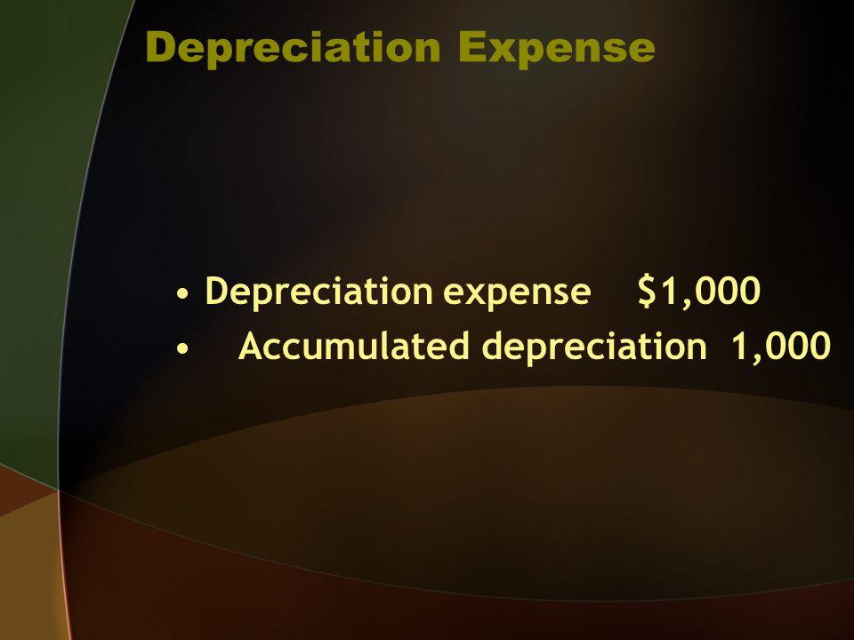 Depreciation Expense Depreciation expense $1,000 Accumulated depreciation 1,000