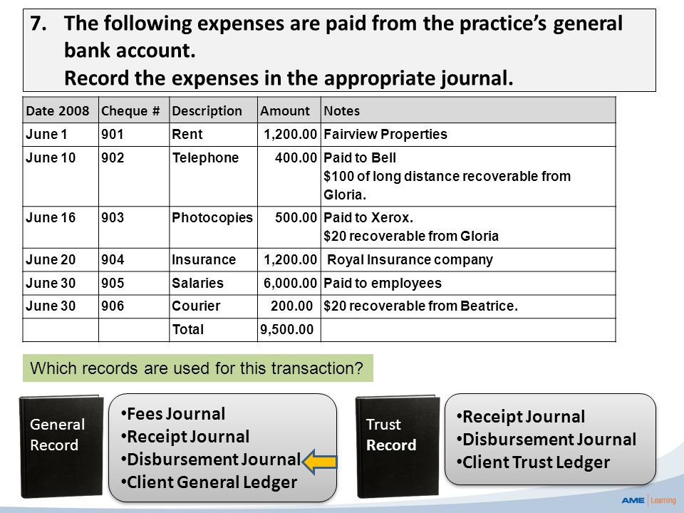 7.The following expenses are paid from the practice's general bank account. Record the expenses in the appropriate journal. Trust Record Receipt Journ
