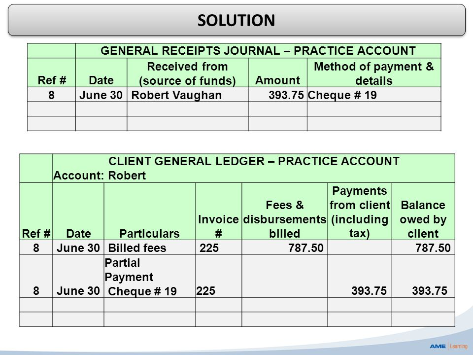 CLIENT GENERAL LEDGER – PRACTICE ACCOUNT Account: Robert Ref #DateParticulars Invoice # Fees & disbursements billed Payments from client (including ta