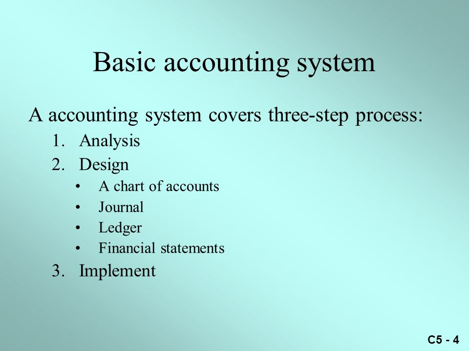 C5 - 4 Basic accounting system A accounting system covers three-step process: 1.Analysis 2.Design A chart of accounts Journal Ledger Financial statements 3.Implement