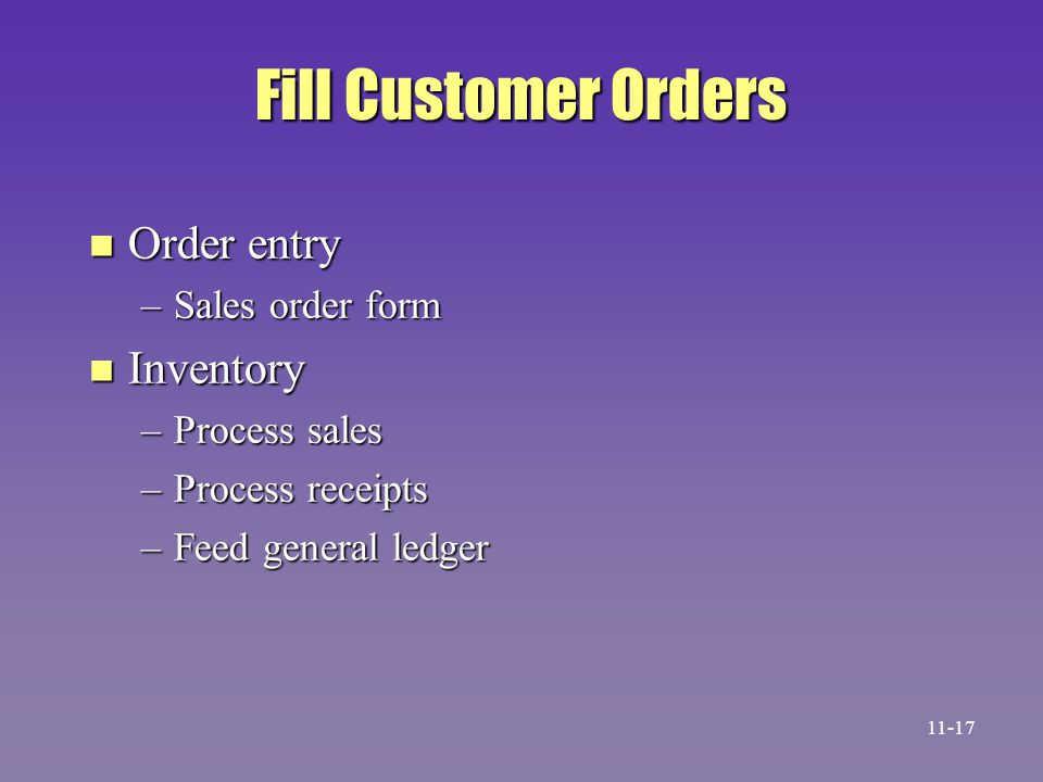 Fill Customer Orders n Order entry –Sales order form n Inventory –Process sales –Process receipts –Feed general ledger 11-17