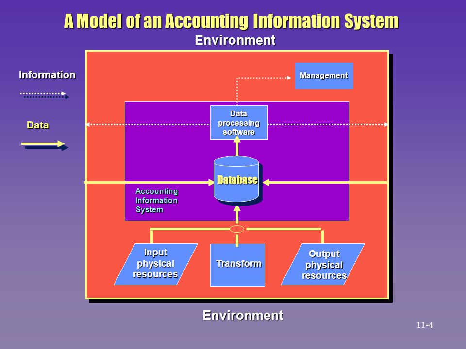 Environment A Model of an Accounting Information System Information Data Management Dataprocessingsoftware Transform AccountingInformationSystem Datab