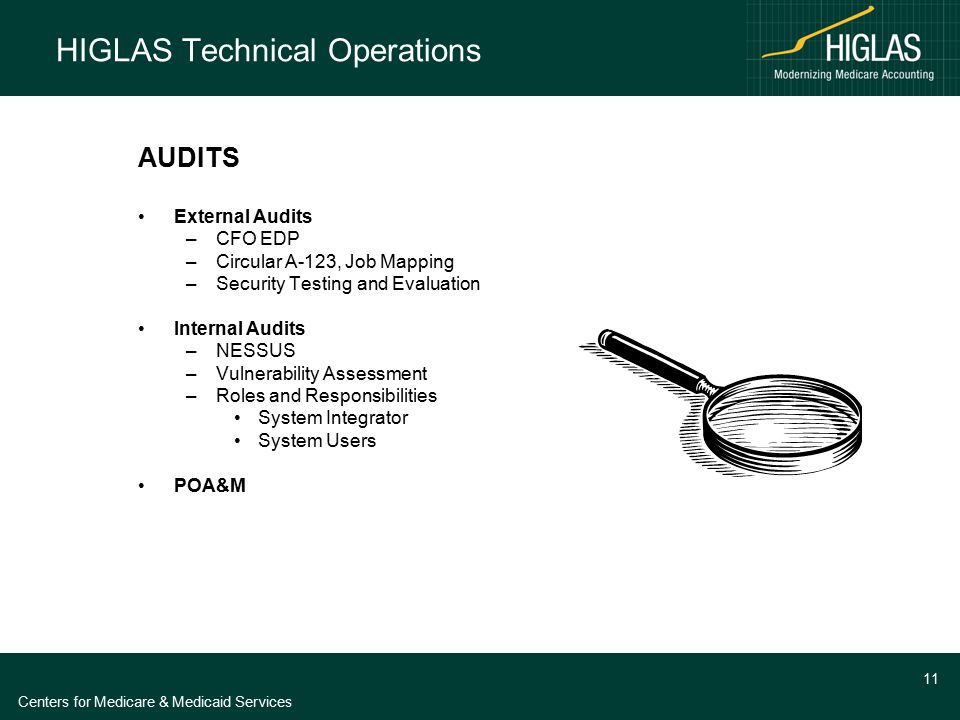 Centers for Medicare & Medicaid Services 11 HIGLAS Technical Operations AUDITS External Audits –CFO EDP –Circular A-123, Job Mapping –Security Testing