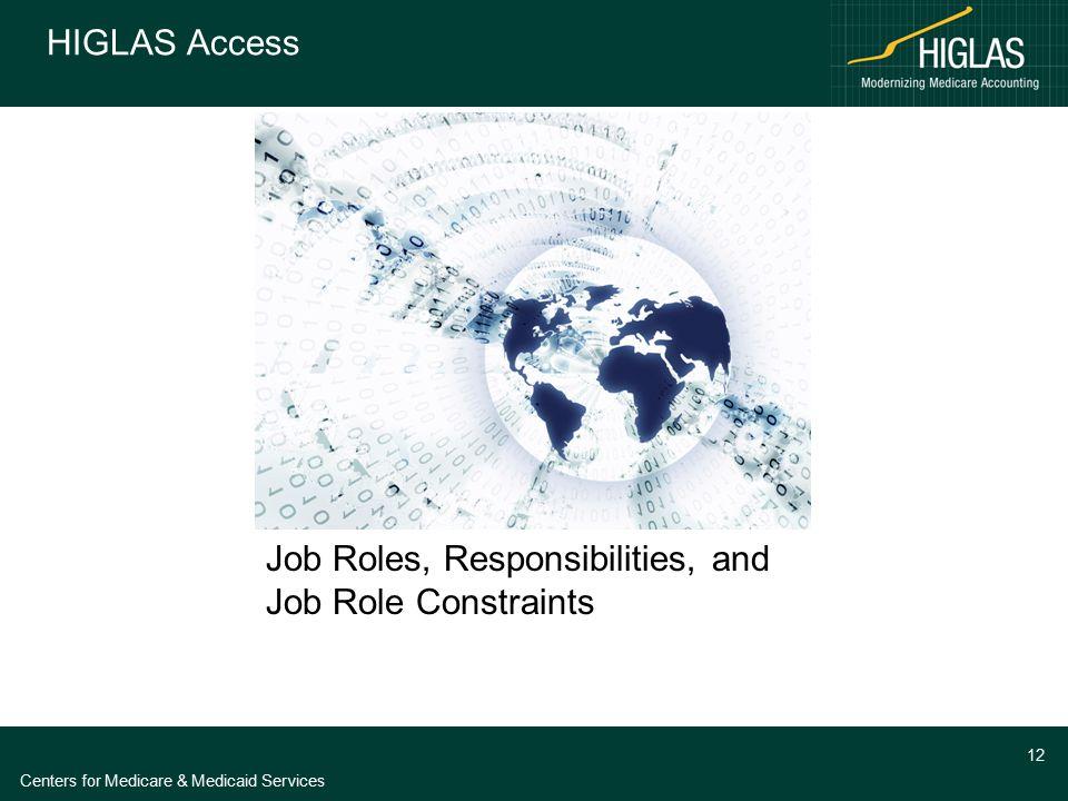 Centers for Medicare & Medicaid Services 12 HIGLAS Access Job Roles, Responsibilities, and Job Role Constraints