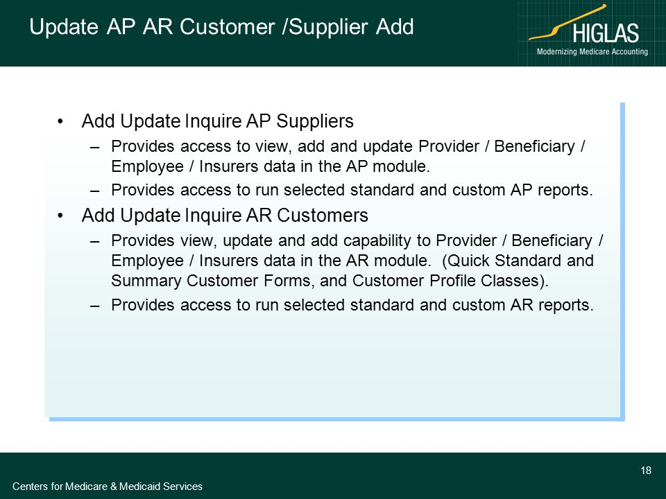 Centers for Medicare & Medicaid Services 18 Update AP AR Customer /Supplier Add Add Update Inquire AP Suppliers –Provides access to view, add and upda
