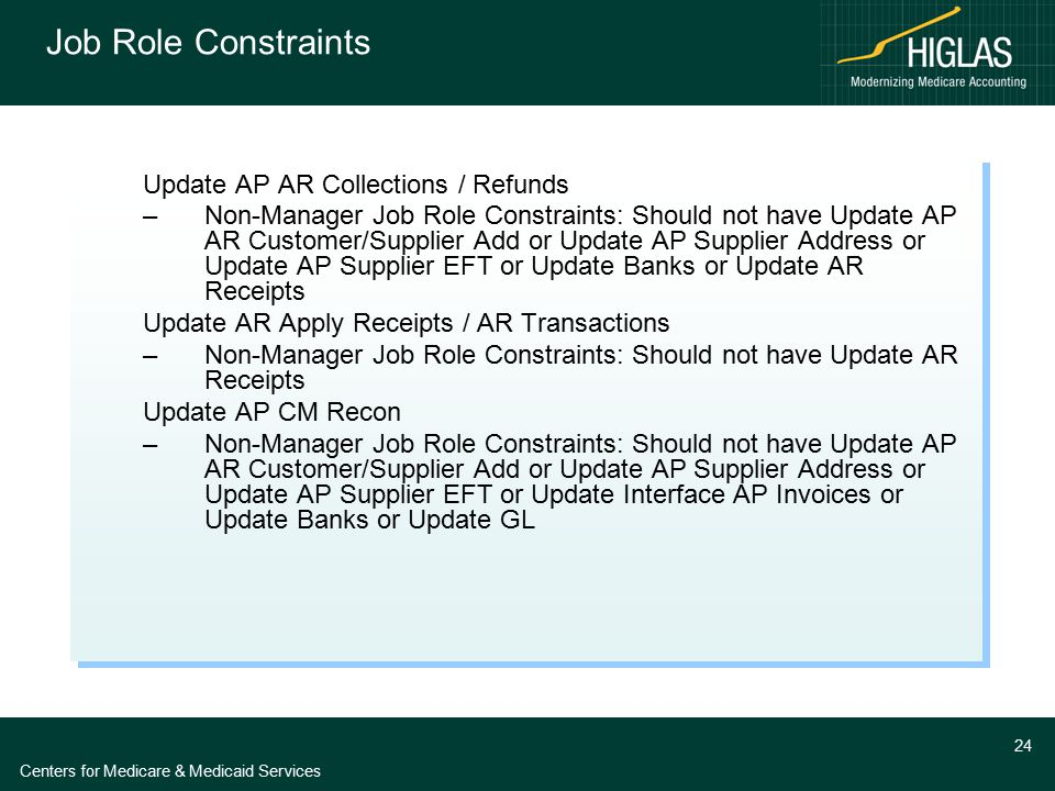 Centers for Medicare & Medicaid Services 24 Job Role Constraints Update AP AR Collections / Refunds –Non-Manager Job Role Constraints: Should not have
