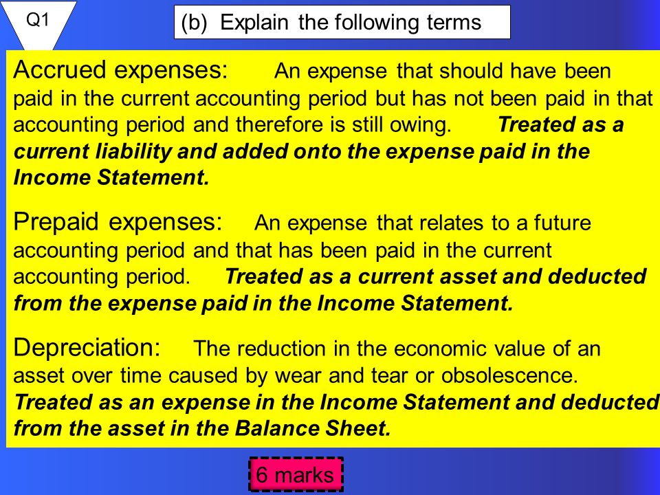 (b) Explain the following terms 6 marks Accrued expenses: An expense that should have been paid in the current accounting period but has not been paid in that accounting period and therefore is still owing.
