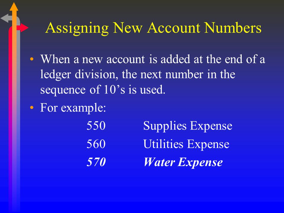Assigning New Account Numbers When a new account is added at the end of a ledger division, the next number in the sequence of 10's is used. For exampl