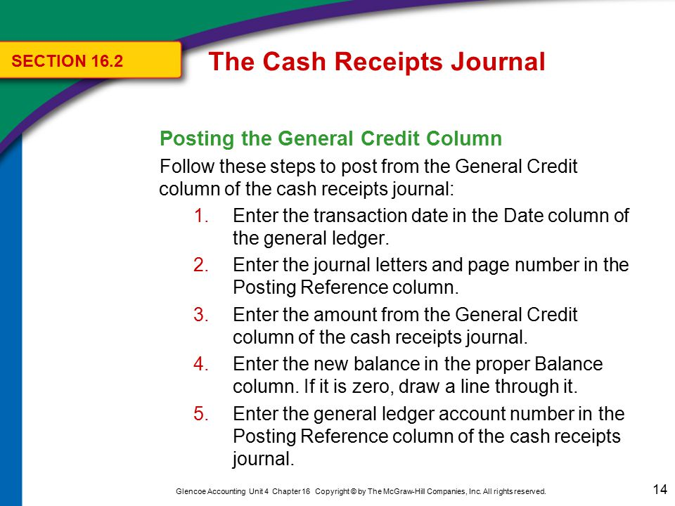 14 Glencoe Accounting Unit 4 Chapter 16 Copyright © by The McGraw-Hill Companies, Inc. All rights reserved. Posting the General Credit Column Follow t