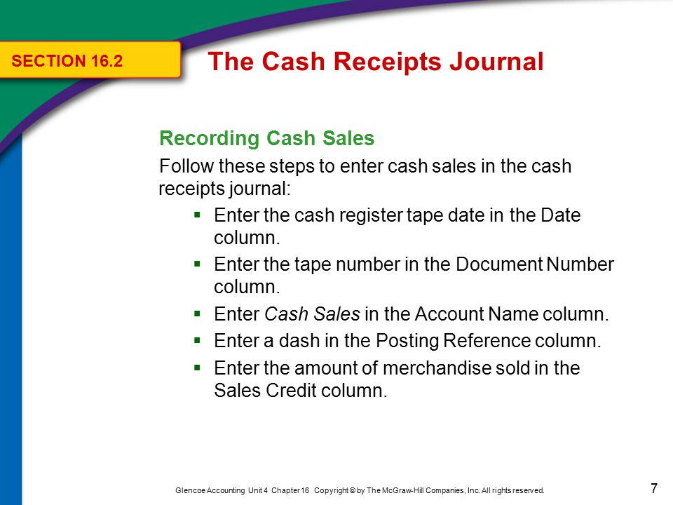 7 Glencoe Accounting Unit 4 Chapter 16 Copyright © by The McGraw-Hill Companies, Inc. All rights reserved. Recording Cash Sales Follow these steps to