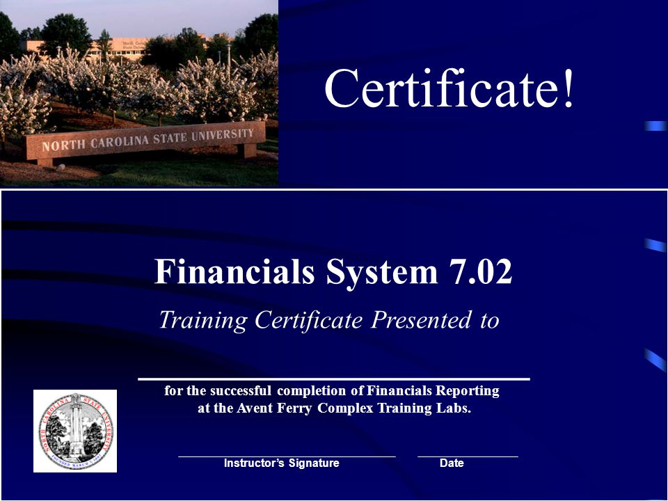 Certificate! Financials System 7.02 Training Certificate Presented to _____________________ for the successful completion of Financials Reporting at t