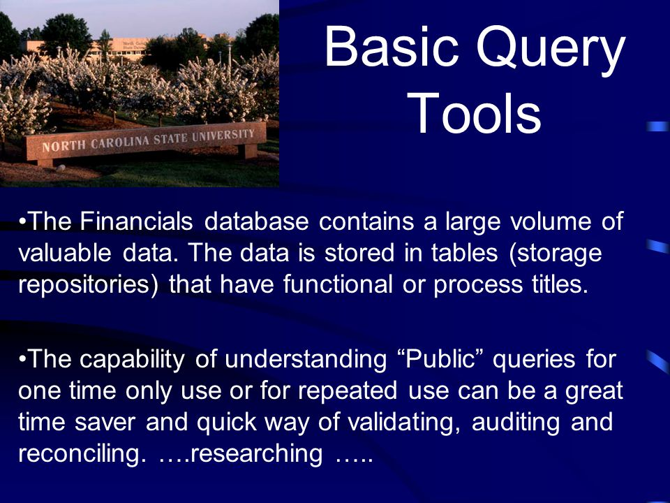 Query Objectives: Understand the structure of a Relational Database Understand how Public and Private Queries differ Run queries with results to Financials (Screen) and to Excel (Spreadsheet) Change Fields and Criteria in an existing query and save it as a Private Query