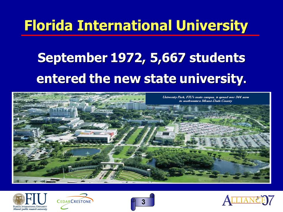 4 Florida International University In 2000, the Carnegie Foundation reclassified the University as a Carnegie Doctoral/Research Universities-Extensive – the highest ranking for research universities.