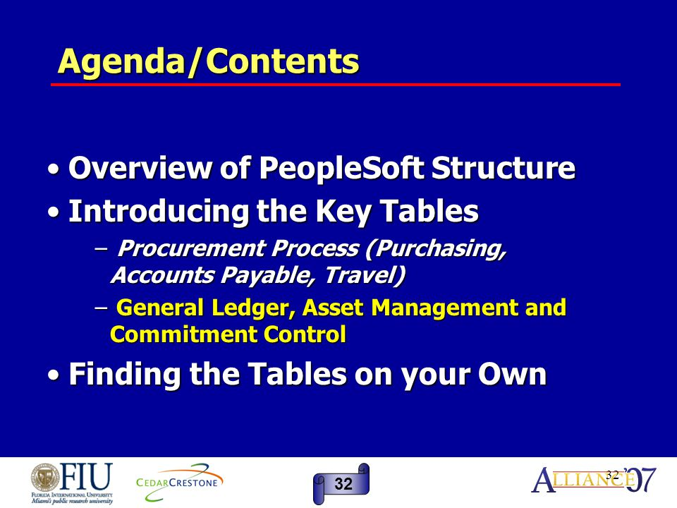 32 Agenda/Contents Overview of PeopleSoft Structure Overview of PeopleSoft Structure Introducing the Key Tables Introducing the Key Tables − Procurement Process (Purchasing, Accounts Payable, Travel) − General Ledger, Asset Management and Commitment Control Finding the Tables on your Own Finding the Tables on your Own 32
