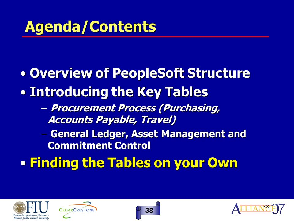 38 Agenda/Contents Overview of PeopleSoft Structure Overview of PeopleSoft Structure Introducing the Key Tables Introducing the Key Tables − Procurement Process (Purchasing, Accounts Payable, Travel) − General Ledger, Asset Management and Commitment Control Finding the Tables on your Own Finding the Tables on your Own 38
