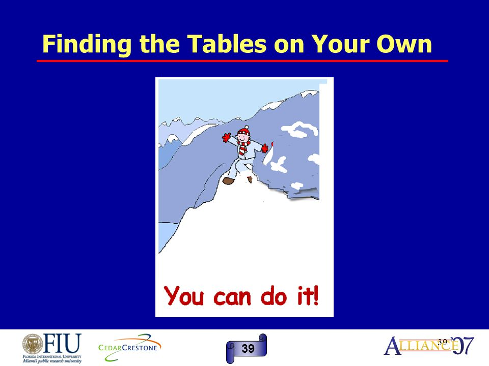 39 Finding the Tables on Your Own 39