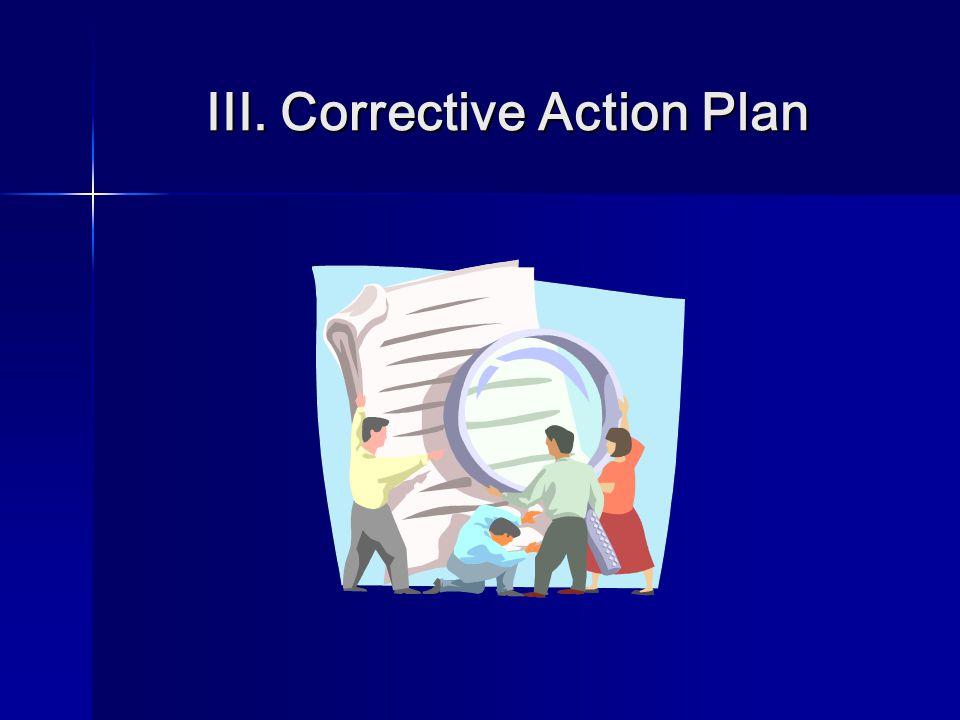 III. Corrective Action Plan