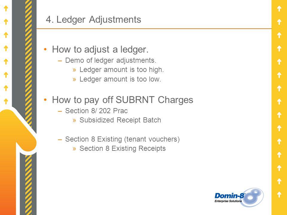 4. Ledger Adjustments How to adjust a ledger. –Demo of ledger adjustments.