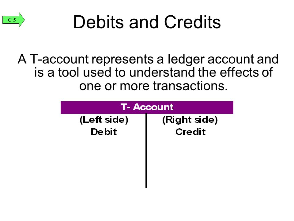 A T-account represents a ledger account and is a tool used to understand the effects of one or more transactions. Debits and Credits C 5