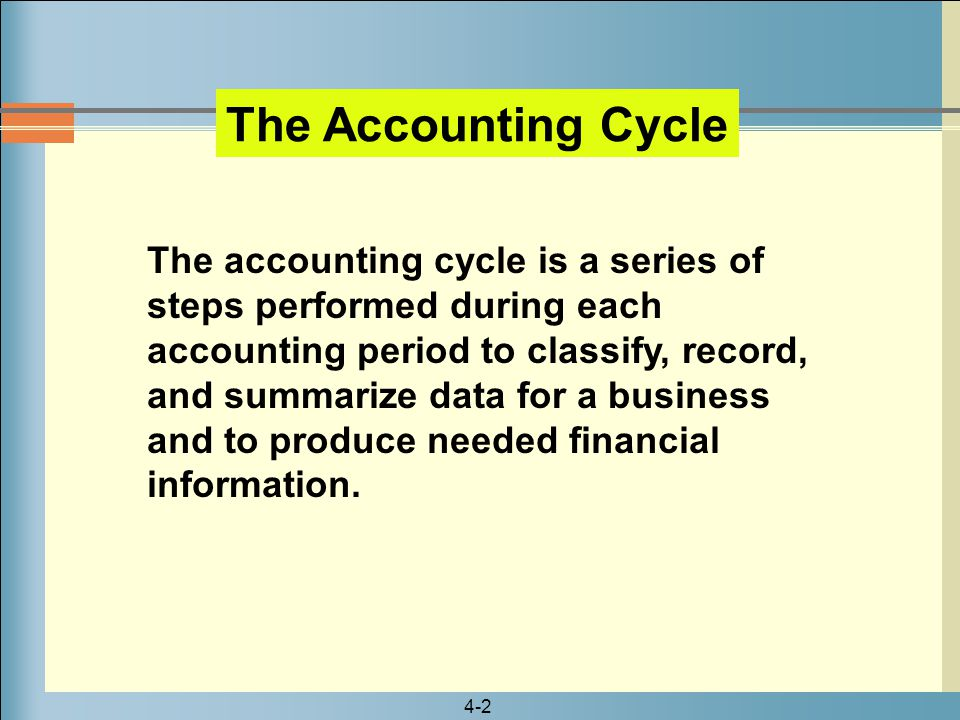 4-2 The Accounting Cycle The accounting cycle is a series of steps performed during each accounting period to classify, record, and summarize data for