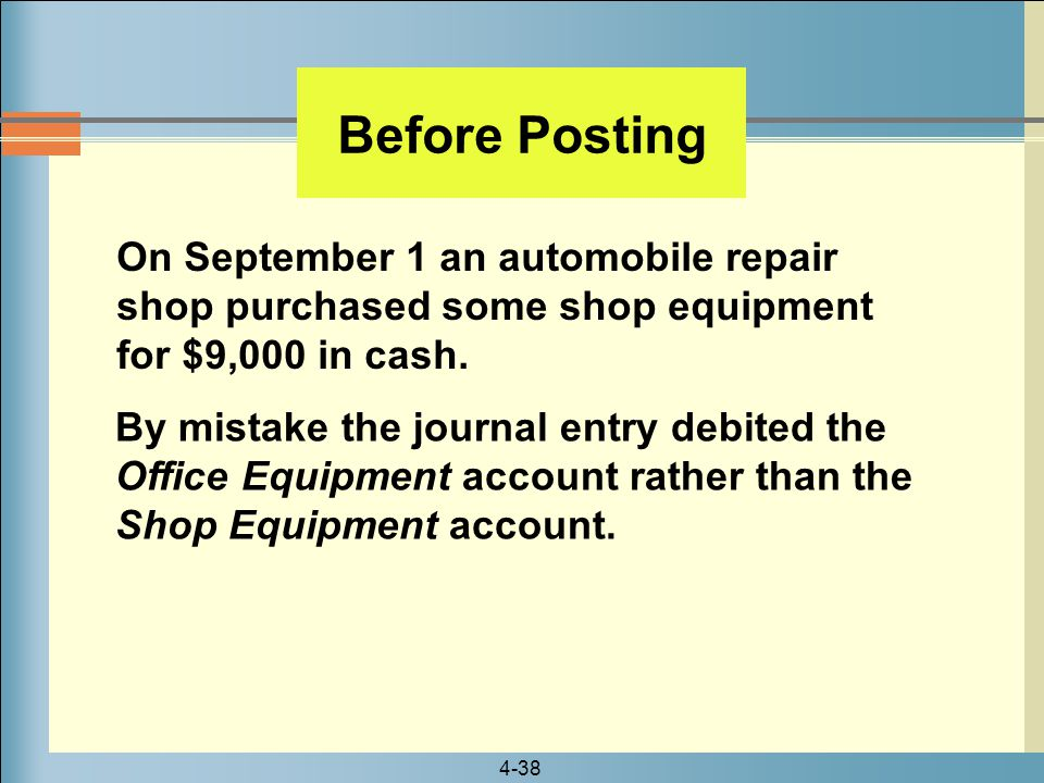 4-38 On September 1 an automobile repair shop purchased some shop equipment for $9,000 in cash. Before Posting By mistake the journal entry debited th