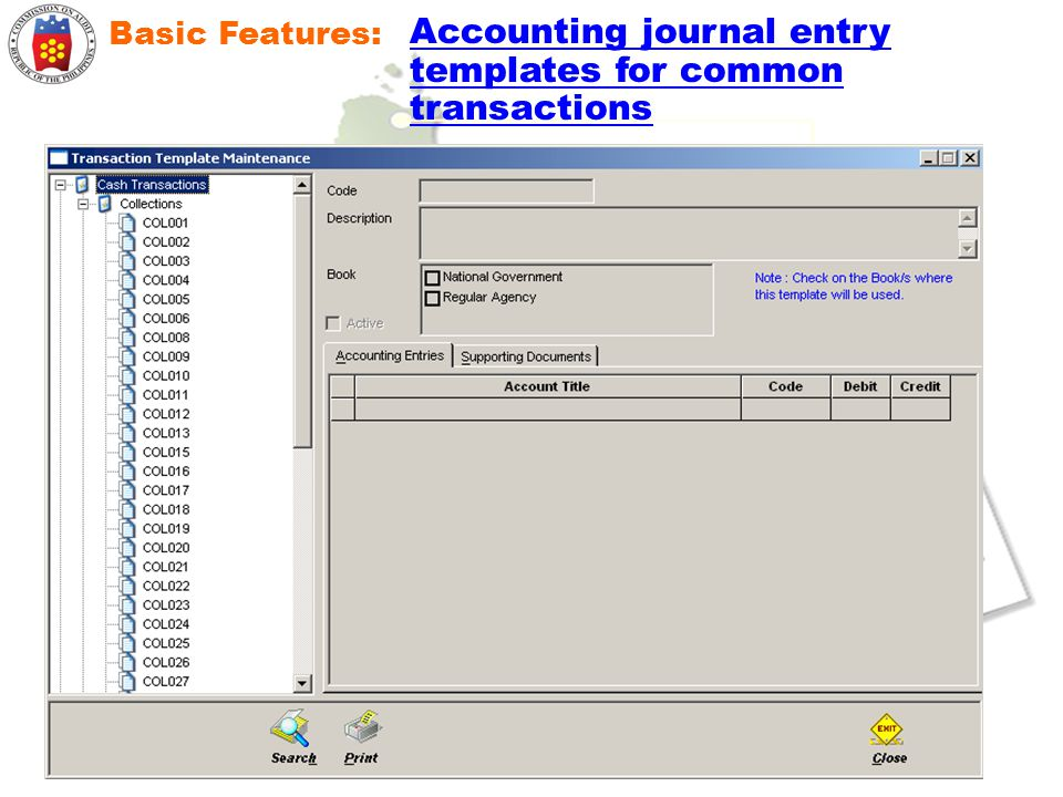 Basic Features: Accounting journal entry templates for common transactions