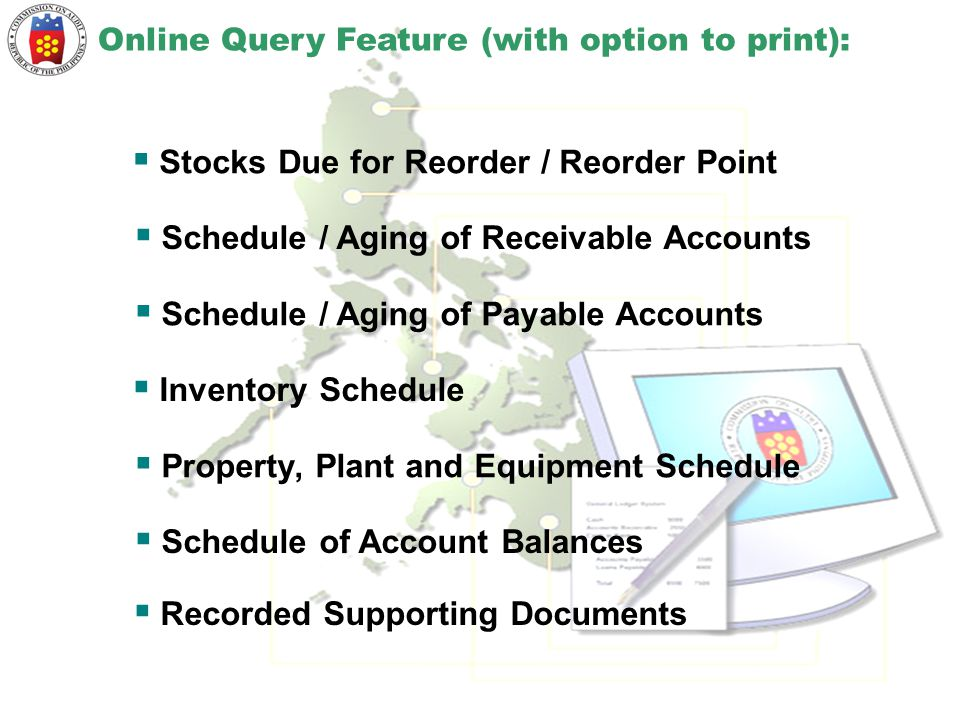 Online Query Feature (with option to print):  Stocks Due for Reorder / Reorder Point  Schedule / Aging of Receivable Accounts  Schedule / Aging of