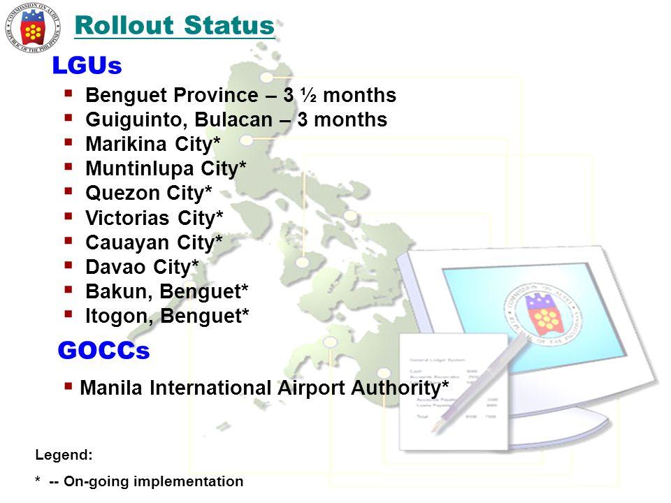  Benguet Province – 3 ½ months  Guiguinto, Bulacan – 3 months  Marikina City*  Muntinlupa City*  Quezon City*  Victorias City*  Cauayan City*  Davao City*  Bakun, Benguet*  Itogon, Benguet* LGUs Rollout Status Legend: * -- On-going implementation GOCCs  Manila International Airport Authority*