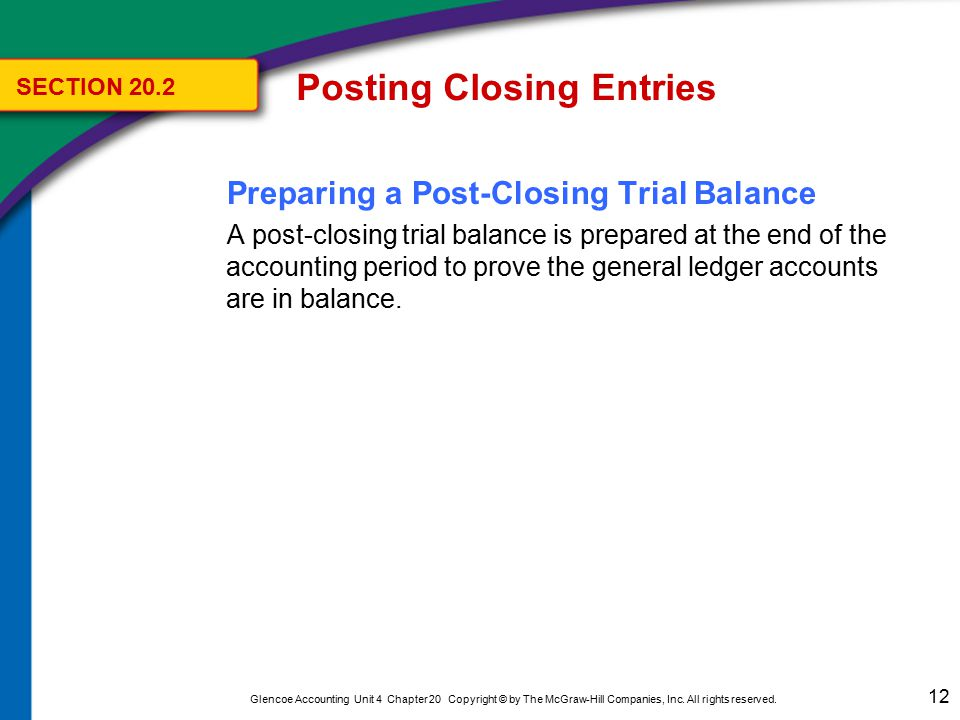 12 Glencoe Accounting Unit 4 Chapter 20 Copyright © by The McGraw-Hill Companies, Inc. All rights reserved. Preparing a Post-Closing Trial Balance A p