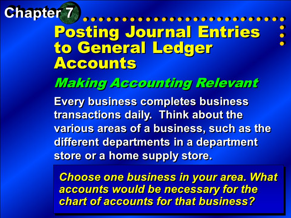 Posting Journal Entries to General Ledger Accounts Making Accounting Relevant Every business completes business transactions daily. Think about the va