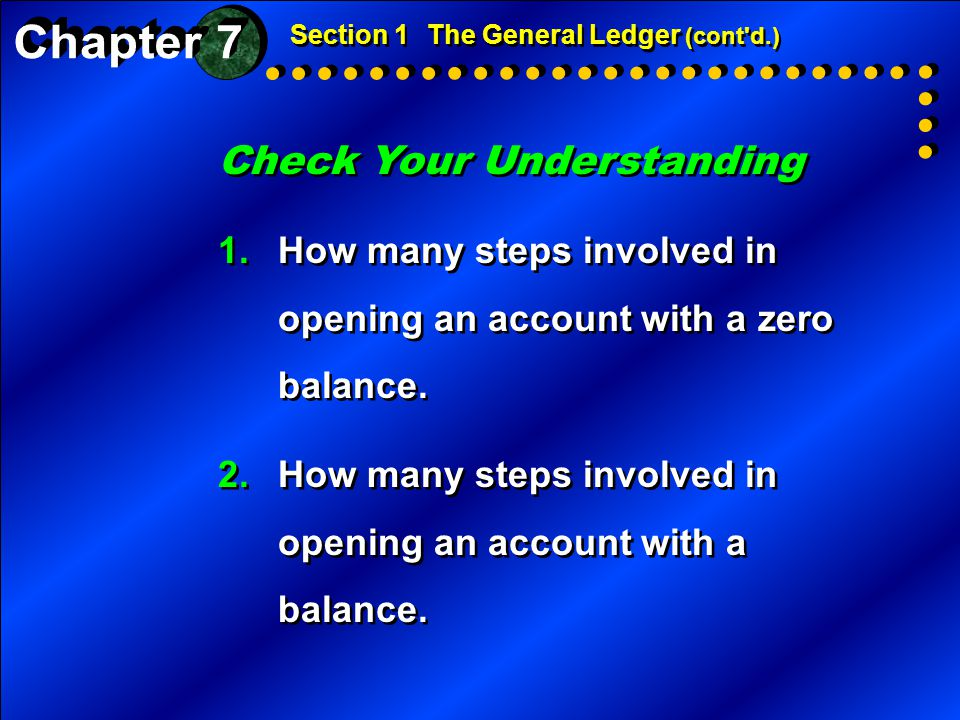 Check Your Understanding 1.How many steps involved in opening an account with a zero balance. 2.How many steps involved in opening an account with a b