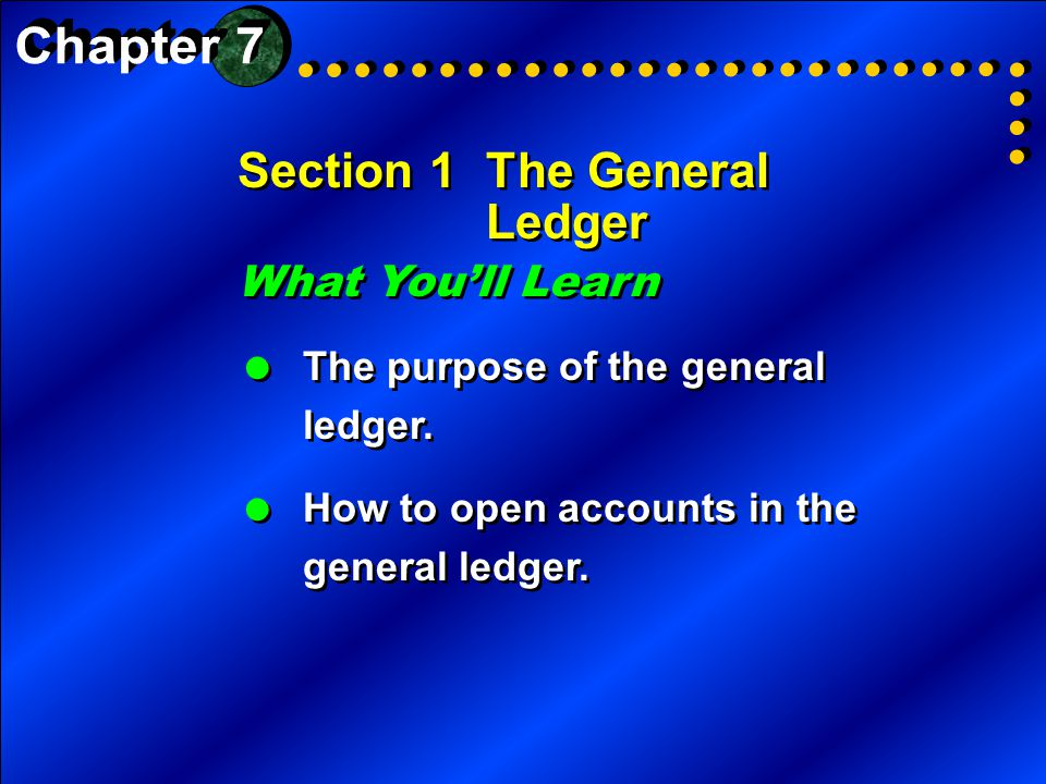 Section 1The General Ledger What You'll Learn  The purpose of the general ledger.  How to open accounts in the general ledger. What You'll Learn  T