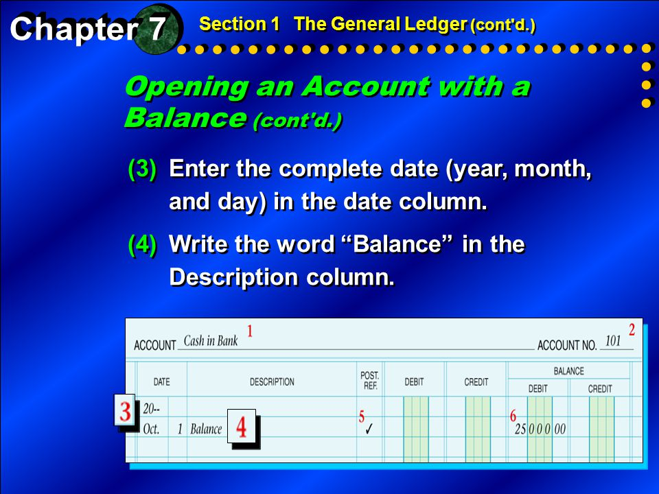 Opening an Account with a Balance (cont'd.) Section 1The General Ledger (cont'd.) (3)Enter the complete date (year, month, and day) in the date column