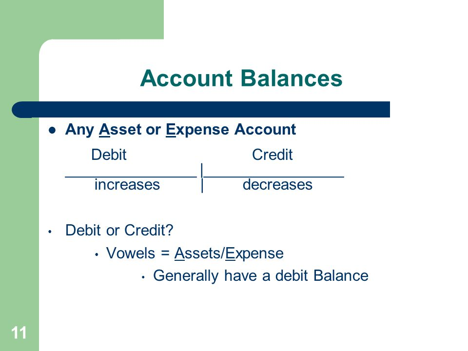 Account Balances Any Asset or Expense Account Debit Credit _______________ |________________ increases | decreases Debit or Credit? Vowels = Assets/Ex