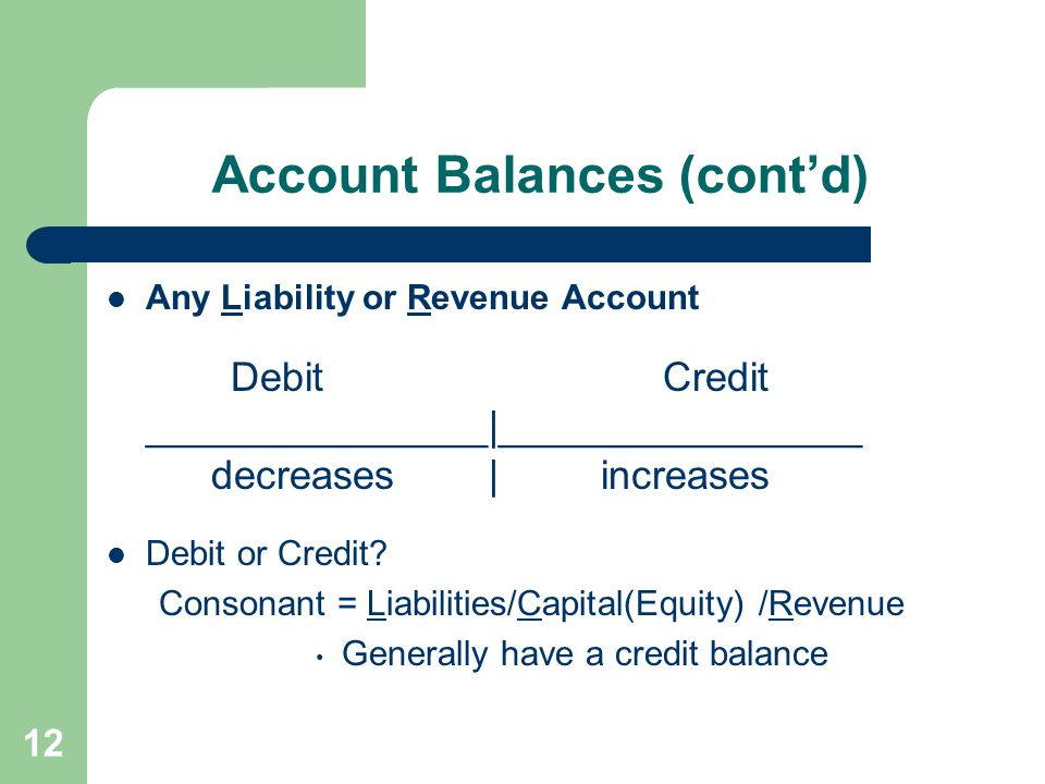 Account Balances (cont'd) Any Liability or Revenue Account Debit Credit _______________|________________ decreases | increases Debit or Credit? Conson