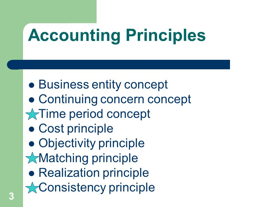 Accounting Principles Business entity concept Continuing concern concept Time period concept Cost principle Objectivity principle Matching principle R