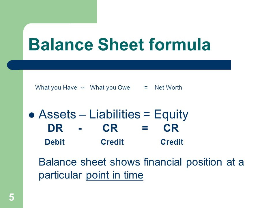 Balance Sheet formula What you Have -- What you Owe = Net Worth Assets – Liabilities = Equity DR - CR = CR Debit Credit Credit Balance sheet shows fin