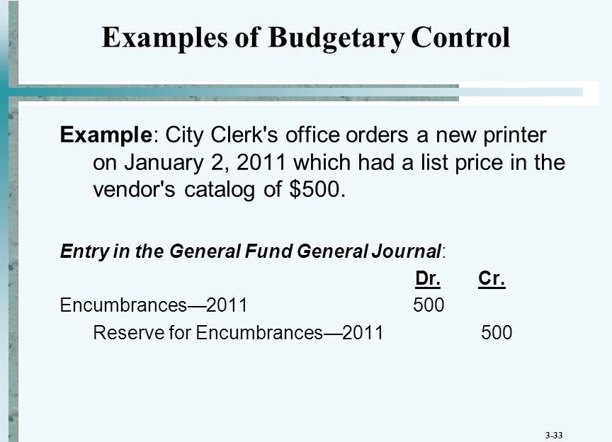 3-33 Example: City Clerk s office orders a new printer on January 2, 2011 which had a list price in the vendor s catalog of $500.