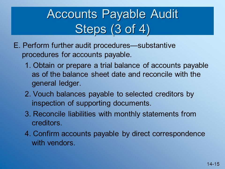14-15 Accounts Payable Audit Steps (3 of 4) E.