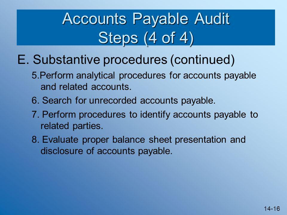 14-16 Accounts Payable Audit Steps (4 of 4) E.