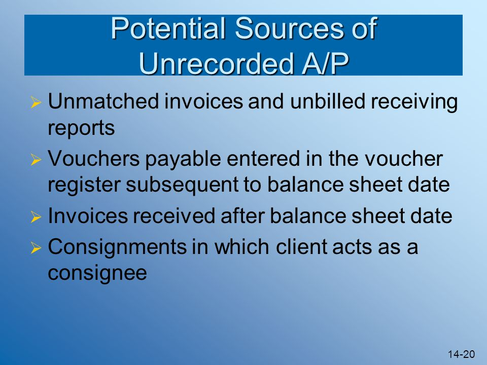 14-20 Potential Sources of Unrecorded A/P  Unmatched invoices and unbilled receiving reports  Vouchers payable entered in the voucher register subsequent to balance sheet date  Invoices received after balance sheet date  Consignments in which client acts as a consignee