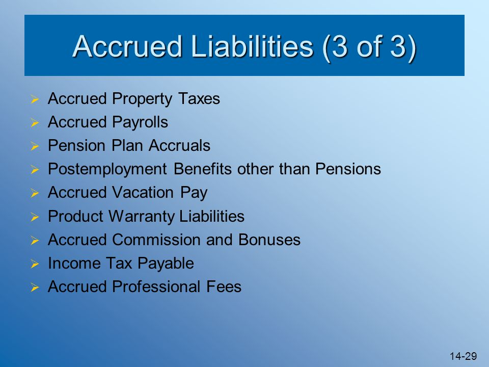 14-29 Accrued Liabilities (3 of 3)  Accrued Property Taxes  Accrued Payrolls  Pension Plan Accruals  Postemployment Benefits other than Pensions  Accrued Vacation Pay  Product Warranty Liabilities  Accrued Commission and Bonuses  Income Tax Payable  Accrued Professional Fees