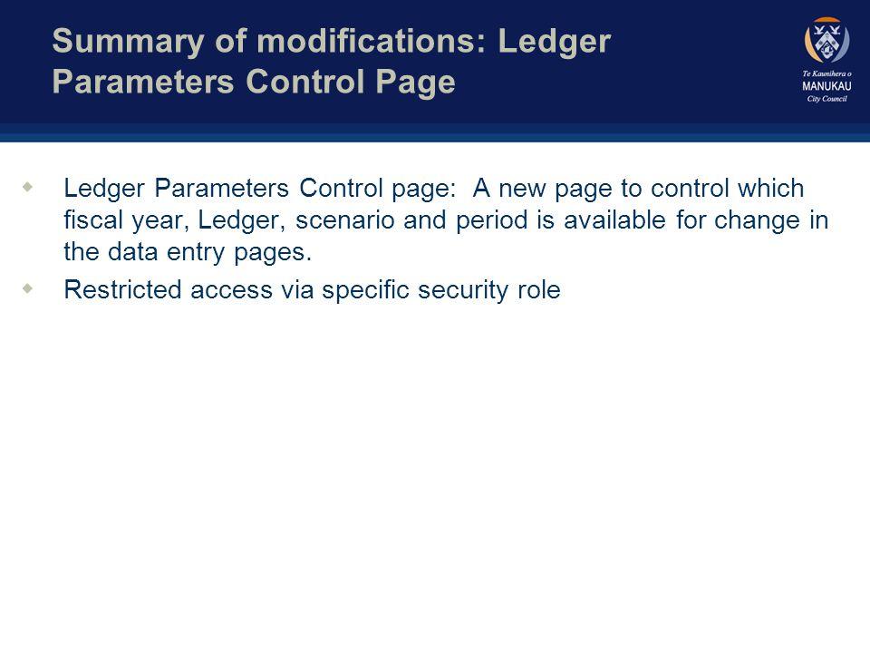 General Ledger Parameter Control Page