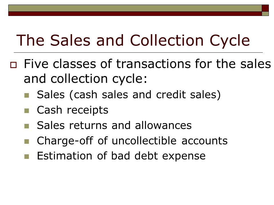 The Sales and Collection Cycle  Five classes of transactions for the sales and collection cycle: Sales (cash sales and credit sales) Cash receipts Sales returns and allowances Charge-off of uncollectible accounts Estimation of bad debt expense