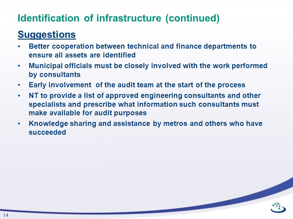 14 Identification of infrastructure (continued) Suggestions Better cooperation between technical and finance departments to ensure all assets are iden